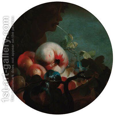 Peaches, an apple and figs by a fountain by (after) Abraham Brueghel - Reproduction Oil Painting