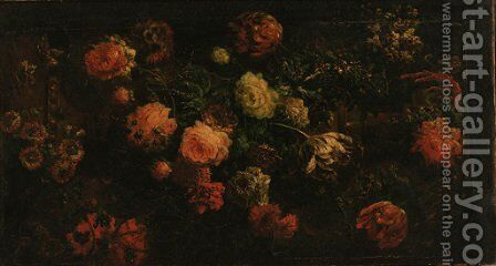 Tulips, peonies, poppies and other flowers against a stone ledge by (after) Abraham Brueghel - Reproduction Oil Painting