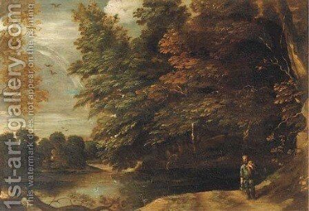 A river landscape with a fisherman on a path at the edge of a wood by (after) Abraham Govaerts - Reproduction Oil Painting