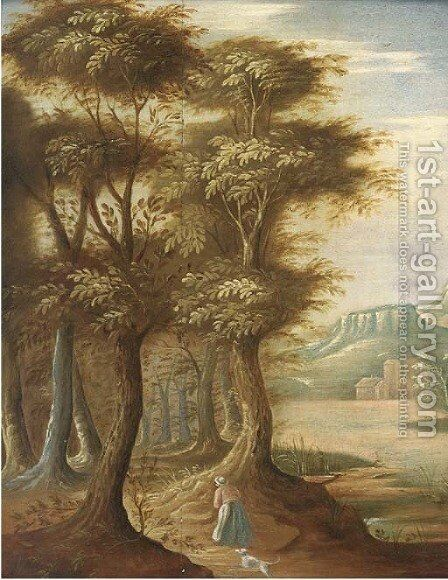 A wooded landscape with a woman and a dog on a track by (after) Abraham Govaerts - Reproduction Oil Painting