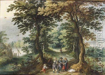 Bandits holding up a traveller on a path in a wood by (after) Abraham Govaerts - Reproduction Oil Painting
