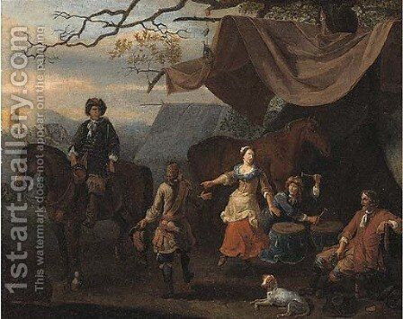 A military encampment with merrymakers at a tent by (after) Abraham Danielsz Hondius - Reproduction Oil Painting
