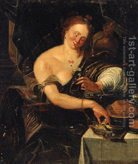 An allegory of the sense of taste by (after) Abraham Janssens Van Nuyssen - Reproduction Oil Painting