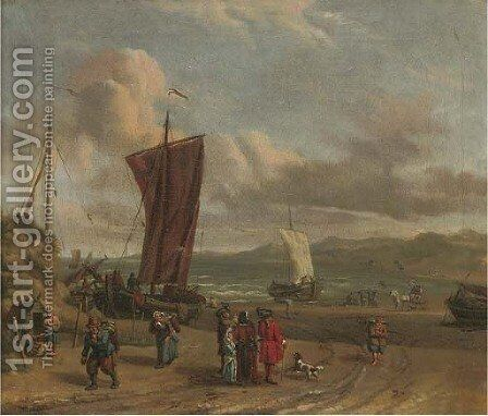 Merchants in discussion on the foreshore by (after) Abraham Storck - Reproduction Oil Painting