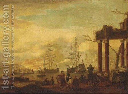 A Mediterranean coastal inlet with shipping and stevedores by classical ruins by (after) Abraham Jansz. Storck - Reproduction Oil Painting