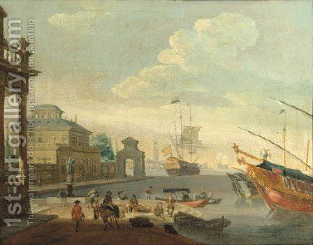 A Capriccio of a Mediterranean harbour with galleys and a merchantman by (after) Abraham Storck - Reproduction Oil Painting