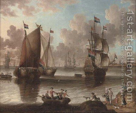 A Dutch warship and fishing vessels in a calm by (after) Abraham Storck - Reproduction Oil Painting