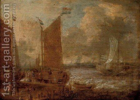 A harbour scene with shipping and steverdores on the quay by (after) Abraham Storck - Reproduction Oil Painting