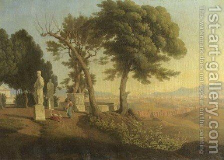 Women conversing in a classical garden, an Italianate landscape beyond by (after) Abraham Teerlink - Reproduction Oil Painting