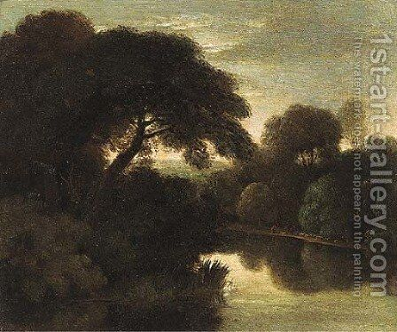 A wooded river landscape by (after) Adam Elsheimer - Reproduction Oil Painting
