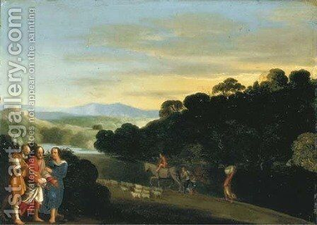 Christ on the road to Emmaus by (after) Adam Elsheimer - Reproduction Oil Painting