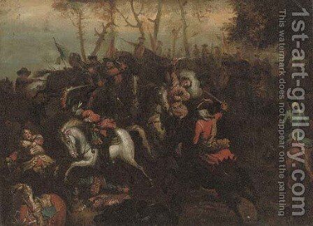 A cavalry skirmish 2 by (after) Adam Frans Van Der Meulen - Reproduction Oil Painting