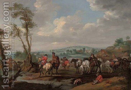 A landscape with a caravan moving across a river by (after) Adam Frans Van Der Meulen - Reproduction Oil Painting