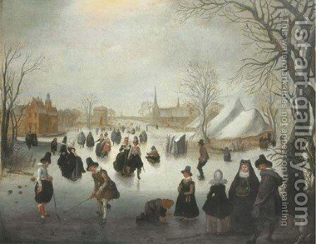 A winter landscape with elegant figures skating and playing kolf on a frozen river, a town beyond by (after) Adam Van Breen - Reproduction Oil Painting