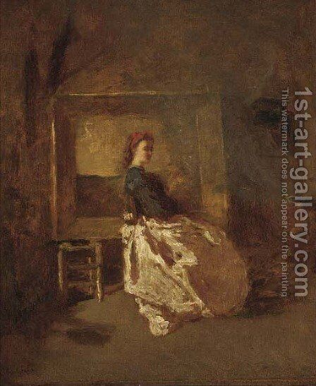 Portrait of a young woman, full length, sitting in a studio by (after) Adolphe Joseph Thomas Monticelli - Reproduction Oil Painting