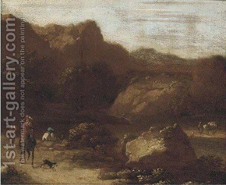 Figures and a dog on a beaten track by (after) Adriaen Van Diest - Reproduction Oil Painting
