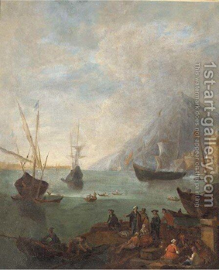 A Mediterranean coastal landscape with fishermen and other figures in the foreground by (after) Adrian Van Der Cabel - Reproduction Oil Painting