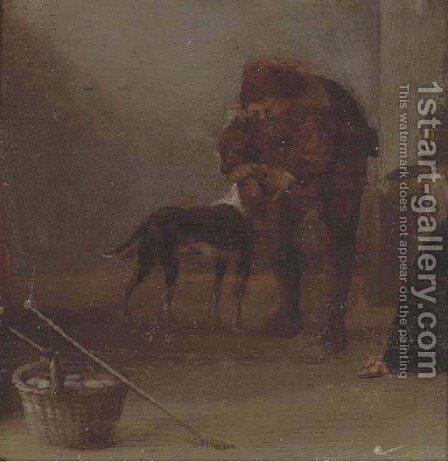 A peasant with his dog by (after) Adriaen Brouwer - Reproduction Oil Painting