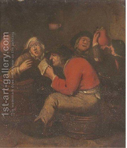 Peasants drinking and merrymaking in an interior by (after) Adriaen Brouwer - Reproduction Oil Painting