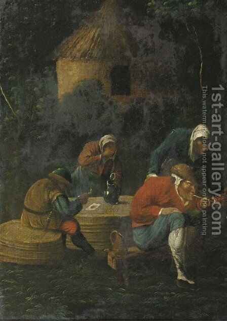 Peasants drinking and smoking by an inn at night by (after) Adriaen Brouwer - Reproduction Oil Painting