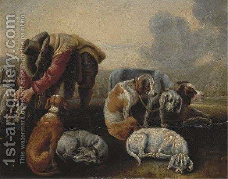 A hunter leashing his hounds by (after) Adriaen Cornelisz. Beeldemaker - Reproduction Oil Painting