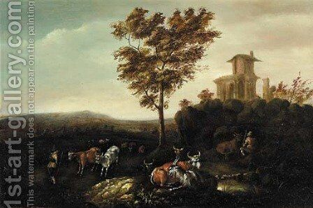Cowherds by a classical ruin, in an Italianate landscape by (after) Adriaen Van De Velde - Reproduction Oil Painting