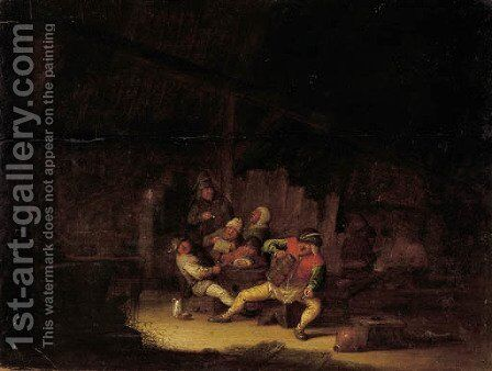 Boors drinking and smoking in an inn by (after) Adriaen Jansz. Van Ostade - Reproduction Oil Painting