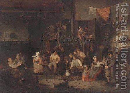Peasants drinking and merrymaking in a tavern by (after) Adriaen Jansz. Van Ostade - Reproduction Oil Painting