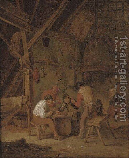 Peasants smoking and drinking in an interior by (after) Adriaen Jansz. Van Ostade - Reproduction Oil Painting