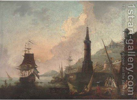 A Mediterranean harbour with elegant company and merchants by a lighthouse, shipping beyond by (after) Adriaen Manglard - Reproduction Oil Painting