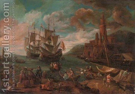 A Mediterranian coastal scene with figures disembarking from a ship and a town beyond by (after) Adriaen Manglard - Reproduction Oil Painting