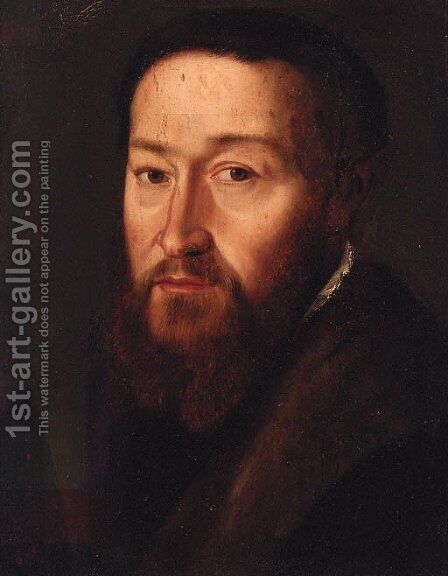 Portrait of a gentleman, head and shoulders, in a black jacket with a fur collar by (after) Adriaen Thomas Key - Reproduction Oil Painting