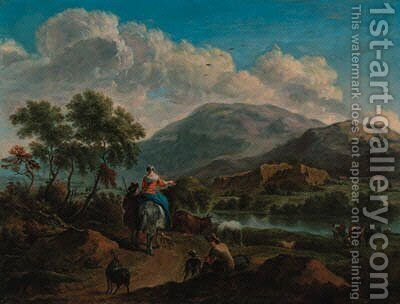 An extensive river landscape with drovers on a path by (after) Adriaen Van De Velde - Reproduction Oil Painting