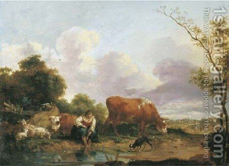 An open landscape with a shepherdess washing her feet by a brook by (after) Adriaen Van De Velde - Reproduction Oil Painting