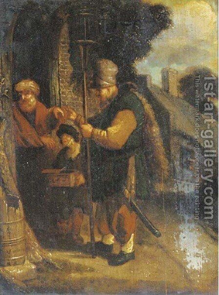 A peddler at a cottage door by (after) Adriaen Jansz. Van Ostade - Reproduction Oil Painting