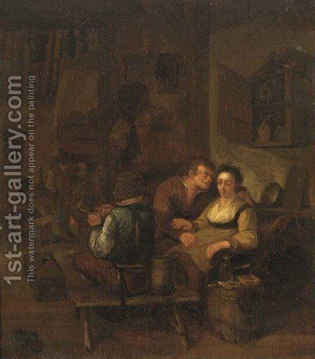 Peasants merry making in an interior by (after) Adriaen Jansz. Van Ostade - Reproduction Oil Painting