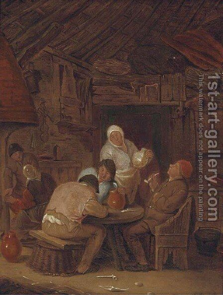 Peasants smoking and drinking in a tavern by (after) Adriaen Jansz. Van Ostade - Reproduction Oil Painting