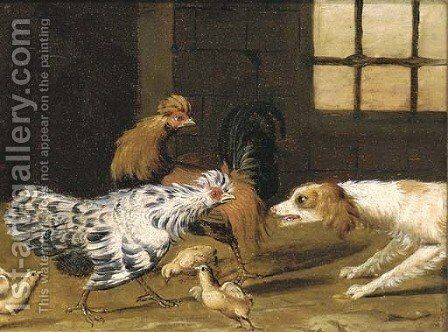A spaniel chasing a cockeral, a hen and chicks by (after) Adriaen Van Utrecht - Reproduction Oil Painting