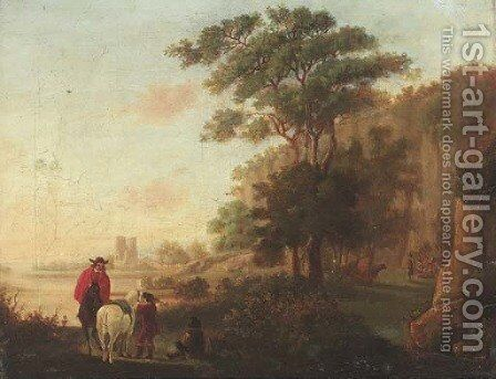 Horseman in an Italianate landscape by (after) Aelbert Cuyp - Reproduction Oil Painting