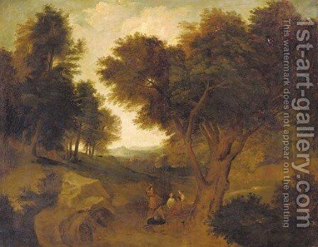 Figures resting on a country path by (after) Aelbert Meyeringh - Reproduction Oil Painting