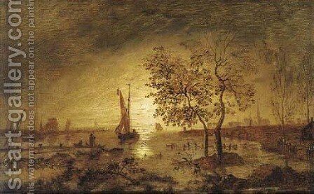 A moonlit estuary with fishing boats and a town beyond by (after) Aert Van Der Neer - Reproduction Oil Painting