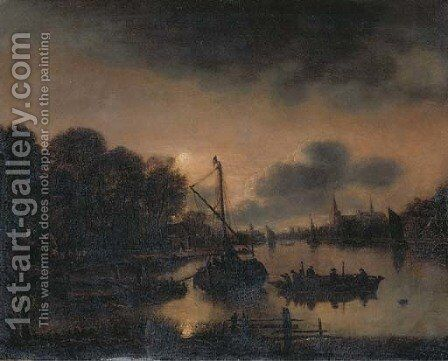 A moonlit landscape with moored vessels on a river, a village with a church beyond by (after) Aert Van Der Neer - Reproduction Oil Painting