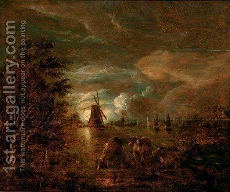 A moonlit river landscape with cows in the foreground, a windmill beyond by (after) Aert Van Der Neer - Reproduction Oil Painting