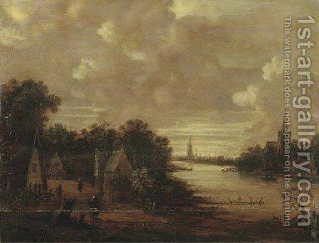 A moonlit river landscape with figures on a track, a church in the distance by (after) Aert Van Der Neer - Reproduction Oil Painting