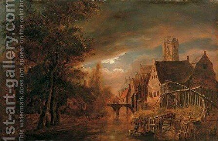 A moonlit river landscape with fishermen, a village nearby by (after) Aert Van Der Neer - Reproduction Oil Painting