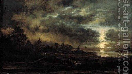 A moonlit river landscape with travellers on a footbridge by a village by (after) Aert Van Der Neer - Reproduction Oil Painting