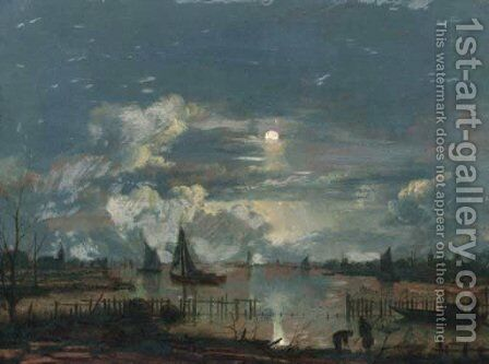 A moonlit riverlandscape, with shipping and fishermen on the shore inspecting their nets and lobsterpots by (after) Aert Van Der Neer - Reproduction Oil Painting
