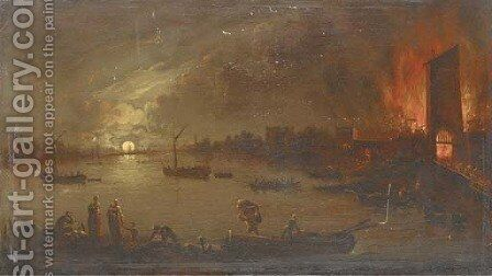 A river landscape by moonlight with people abandoning a blazing village by (after) Aert Van Der Neer - Reproduction Oil Painting