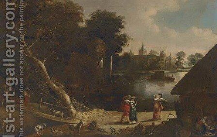 A wooded river landscape with elegant company on a track by (after) Aert Van Der Neer - Reproduction Oil Painting