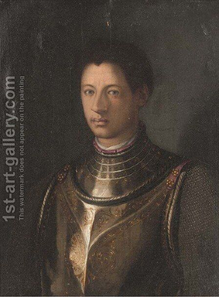 Portrait of a gentleman, bust-length, in armour by (after) Agnolo Bronzino - Reproduction Oil Painting